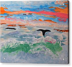 Acrylic Print featuring the painting  Misty Sea At Sunset by Meryl Goudey