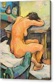 Nude Painting 2 Acrylic Print by Alfons Niex