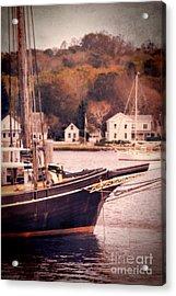 Old Ship Docked On The River Acrylic Print by Jill Battaglia