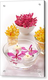 Orchid Head And Candle  Acrylic Print by Atiketta Sangasaeng