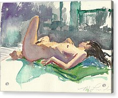 Reclining Nude Acrylic Print by Mark Lunde