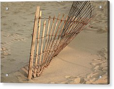Acrylic Print featuring the photograph  Sandy Beach Fence by Ann Murphy