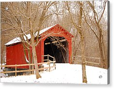 Acrylic Print featuring the photograph  Sandy Creek Cover Bridge  by Peggy Franz