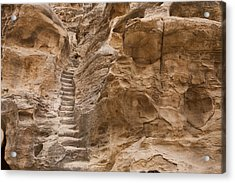 Stairs Lead Up A Rock Face In Little Acrylic Print by Taylor S. Kennedy