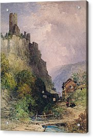 The Castle Of Katz On The Rhine Acrylic Print by William Callow