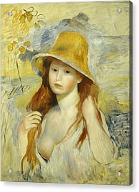 Young Girl With A Straw Hat Acrylic Print by Pierre Auguste Renoir
