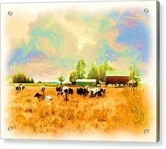 009 Cows In Back 40 - Oil Acrylic Print by Glen W Ferguson