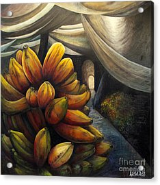 Acrylic Print featuring the painting 01002 Banana Market by AnneKarin Glass