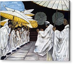 Acrylic Print featuring the painting 01148 Cermonial Umbrellas by AnneKarin Glass
