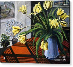 Acrylic Print featuring the painting 01218 Yellow Tulips by AnneKarin Glass