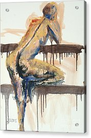 Acrylic Print featuring the painting 04782 At The Bar by AnneKarin Glass
