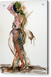 Acrylic Print featuring the painting 04791 Perplexed by AnneKarin Glass