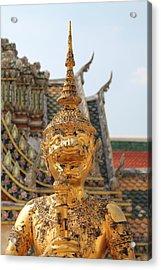 Demon Guardian Statues At Wat Phra Kaew Acrylic Print by Panyanon Hankhampa