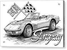 Acrylic Print featuring the drawing 1972 Corvette by Rod Seel