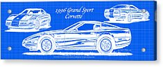 1996 Grand Sport Corvette Blueprint Acrylic Print
