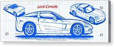 2006 Corvette Blueprint Series Acrylic Print