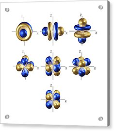 4f Electron Orbitals, Cubic Set Acrylic Print by Dr Mark J. Winter