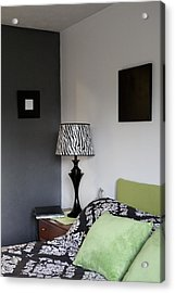 A Bedroom In A House. A Double Bed Acrylic Print by Christian Scully