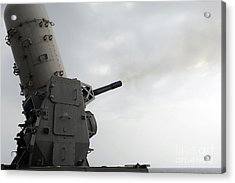 A Close-in Weapons System Is Fired Acrylic Print by Stocktrek Images