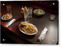 A Hamburger Lunch At A Restaurant Acrylic Print by Joel Sartore