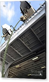 A Soldier Fast-ropes From The Rear Acrylic Print by Stocktrek Images