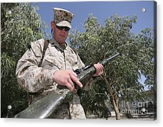 A Soldier Holds The M-40a1 Sniper Rifle Acrylic Print by Stocktrek Images