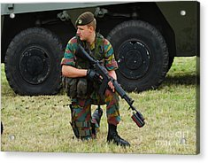 A Soldier Of An Infantry Unit Acrylic Print by Luc De Jaeger