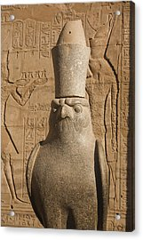 A Statue Of A Falcon At The Temple Acrylic Print by Taylor S. Kennedy