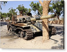A T-72 Tank Destroyed By Nato Forces Acrylic Print by Andrew Chittock