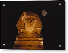 A View Of The Great Sphinx At Night Acrylic Print by Bill Ellzey