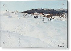 A Winter's Day In Norway Acrylic Print by Fritz Thaulow