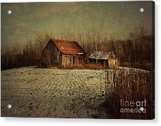 Abandoned Barn After The First Snow Acrylic Print