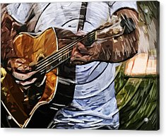Acoustic Blues Acrylic Print by Tilly Williams