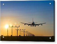 Aeroplane Landing At Sunset, Canada Acrylic Print by David Nunuk