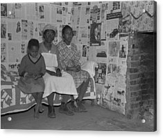 African American Mother With Her Two Acrylic Print by Everett
