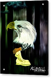 Acrylic Print featuring the painting American Eagle Cries by Ayasha Loya