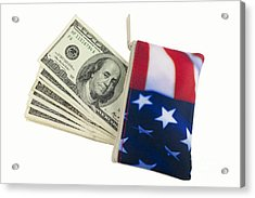 American Flag Wallet With 100 Dollar Bills Acrylic Print by Blink Images