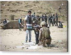 An Afghan Police Student Loads A Rpg-7 Acrylic Print