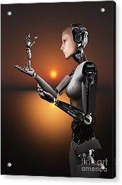 An Android Takes A Closer Look Acrylic Print by Mark Stevenson