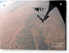 An F-15e Strike Eagle Is Refueled Acrylic Print by Stocktrek Images