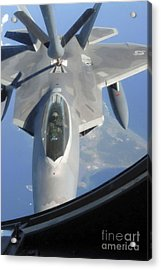 An F-22 Raptor Receives Fuel Acrylic Print by Stocktrek Images