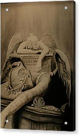 Acrylic Print featuring the painting Angel Of Grief  by Teresa Beyer