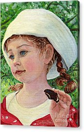Acrylic Print featuring the painting Annie In Dad's Sailor Hat by Dee Davis