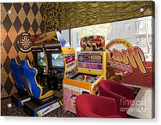 Arcade Game Machines At A Diner Acrylic Print by Jaak Nilson