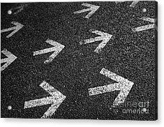 Arrows On Asphalt Acrylic Print by Carlos Caetano
