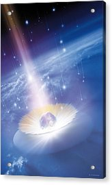 Asteroid Impacting The Earth, Artwork Acrylic Print by Detlev Van Ravenswaay