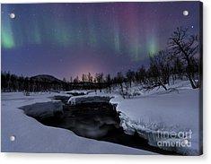 Aurora Borealis Over Blafjellelva River Acrylic Print
