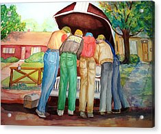 Acrylic Print featuring the painting Backyard Mechanics by AnnE Dentler