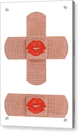 Bandages With Kiss Acrylic Print by Blink Images