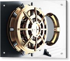 Bank Vault Door 3d Acrylic Print by Gualtiero Boffi